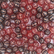 10 x 9mm melon beads in Red Mix/Copper