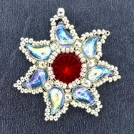 Bead Kit for Eidelweiss Pendant in Light Siam with Silver seed beads