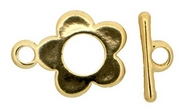 Claspgarten Gold Flower Toggle clasp with 1 row 12862 - 15mm