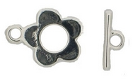 Claspgarten Silver Flower Toggle clasp with 1 row 12862 - 15mm