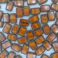10 x table cut rectangles in Orange Opal Picasso (12x8mm)