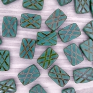 6 x table cut rectangles in Green Turquoise Picasso with 4 stripes (12x8mm)