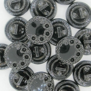 B25 - 13mm Glass button in Black (vintage)