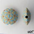 CLB-034-A-M lentil bead in Blue Leaves