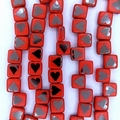 25 x 6mm Czech tiles in Matt Red with Laser etched Chrome Hearts