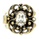 Claspgarten Old Gold clasp with 3 rows 13849 - 16.5x14mm