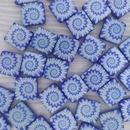 5 x 12mm square beads in Neon Blue with laser etched shell