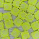 5 x 12mm square beads in Neon Yellow with laser etched shell