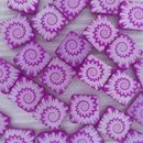 5 x 12mm square beads in Neon Dark Purple with laser etched shell