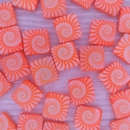 5 x 12mm square beads in Neon Orange with laser etched shell