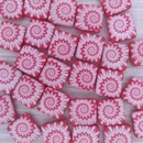 5 x 12mm square beads in Neon Cherry with laser etched shell