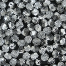 50 x 6mm faceted Silver / Crystal beads