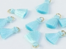 Pair of 1cm Cotton tassels in Light Turquoise