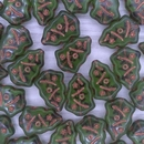 Pair of 17x12mm Christmas tree beads in Olivine with Copper