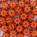 Pair of pumpkin beads in Orange/Black (8x11mm)