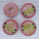 30mm Glass button in Peach with Dragonfly (vintage)