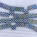 25 x Tila beads in Matt Black with Chessboard design