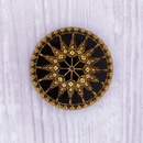 34mm Compass Stone in Black with Old Gold