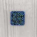18mm Square cabochon with flowers in Black AB