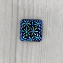 14.5mm Square cabochon with flowers in Black AB
