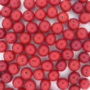 4 x 7mm Handmade round Opaque Red Brown beads (1950s)
