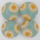 CLB-008-A-M - Golem Studio lentil bead in Daisies on Light Blue
