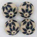 CLB-007-C-S - Golem Studio lentil bead in Dark delft flowers