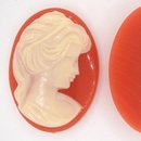 Cam01 - 40x30mm Cameo in Coral Red (Vintage)