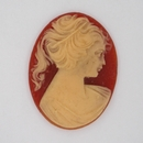 Cam05 - 40x30mm Cameo in Coral Red (Vintage)
