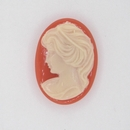 Cam06 - 25x18mm Cameo in Coral Red (Vintage)