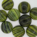 Cab07 - 20mm glass cabochon in Green striped agate (Vintage)