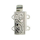 Claspgarten Silver clasp with 2 rows 12597 - 12x6mm