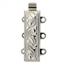 Claspgarten Silver textured clasp with 3 rows 12597 - 18x6mm