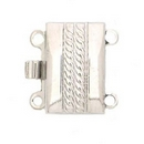 Claspgarten Silver clasp with 2 rows 12670w - 13x8.5mm