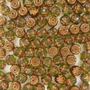 10 x 6mm window beads in Olive Green/Bronze