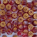 10 x 6mm window beads in Ruby/Bronze