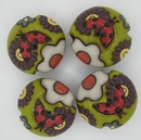 CLB-091-A-M - Golem Studio lentil bead in ladybird and flowers