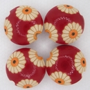 CLB-008-B-M Daisies on Red lentil bead