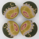 CLB-062-A-M Light and Dark Green Paisley lentil bead