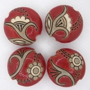 Medium Carved Lentil bead 092 Tuscany Red Paisley Flower