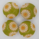 CLB-008-D-M Daisies on Light Green lentil bead