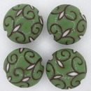 CLB-081-E-M lentil bead in Jade on Terracotta Arabesque