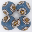 CLB-008-H-M lentil bead in Daisies on Blue