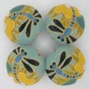 CLB-015-A-M - Golem Studio lentil bead in Dragonflies