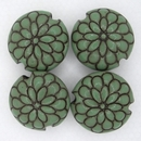 CLB-076-D-M lentil bead in Jade on Terracotta