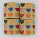 Extra Large Carved Pillow bead 020 Hearts of different Colours