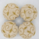 CLB-080-B-M lentil bead in White and Olive Arabesque