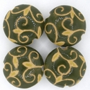 Medium Carved Lentil bead 080 Dark Green and Olive Arabesque