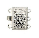 Claspgarten Silver clasp with 3 rows 12676 - 12.5x8mm