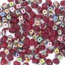 Superduo beads in Matt Ruby Vitrail
